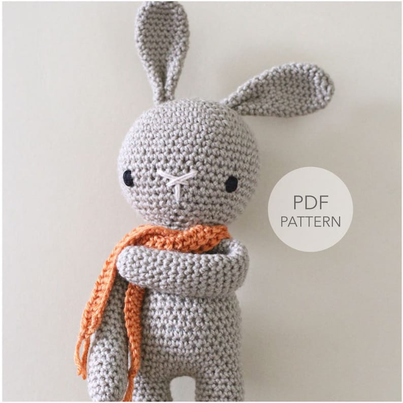 Crochet Amigurumi Cute Bunny PATTERN ONLY Crochet Stuffed image 0