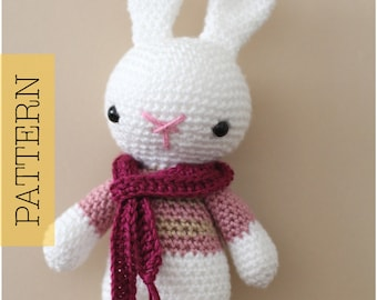 Crochet Amigurumi Bunny PATTERN ONLY, Marley Bunny Rabbit, pdf Amigurumi Stuffed Animal Toy Pattern