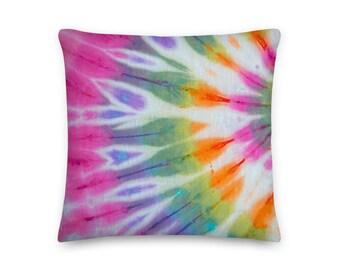 Rainbow Tie Dye Square Throw Pillow