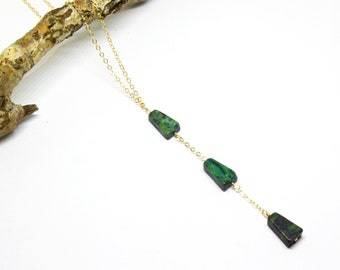 Turquoise Triangle Lariat Necklace