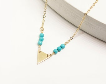 Triangle and Gemstone Necklace