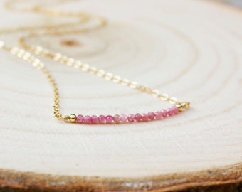 Pink Tourmaline Necklace - October Birthstone