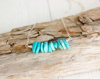 Raw Turquoise Necklace - December Birthstone