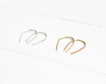 Hammered Horseshoe Threader Earrings
