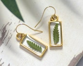 Fern Earrings, Plant Earrings, Nature Earrings,Green Earrings,Leaf Earrings,Fern Jewelry,Botanical Earring,Gold Fern Earring,Nature Inspired