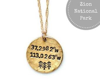 Zion, National Park, Coordinates Necklace, Latitude Longitude,Bridesmaid gift,Wanderlust,Gift for her,National Park,Travel, Adventure await
