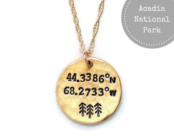 Acadia, National Park, Coordinates Necklace,Latitude Longitude,Bridesmaid gift,Wanderlust,Gift for her,National Park,Travel, Adventure await