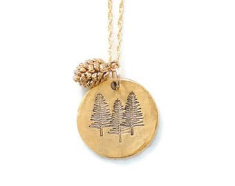 Tree Necklace, Nature Jewelry, Pine Tree Necklace,Three Pines,Pinecone,Nature Lover Gift,Outdoorsy Gifts,Outdoorsman Gift,Adventure Jewelry