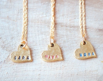 Heart Necklace With Names, Heart Name Necklace, Necklace with Kids Names,Wife Gift,Name Necklace Gold,Gift for Mom,Personalized Necklace