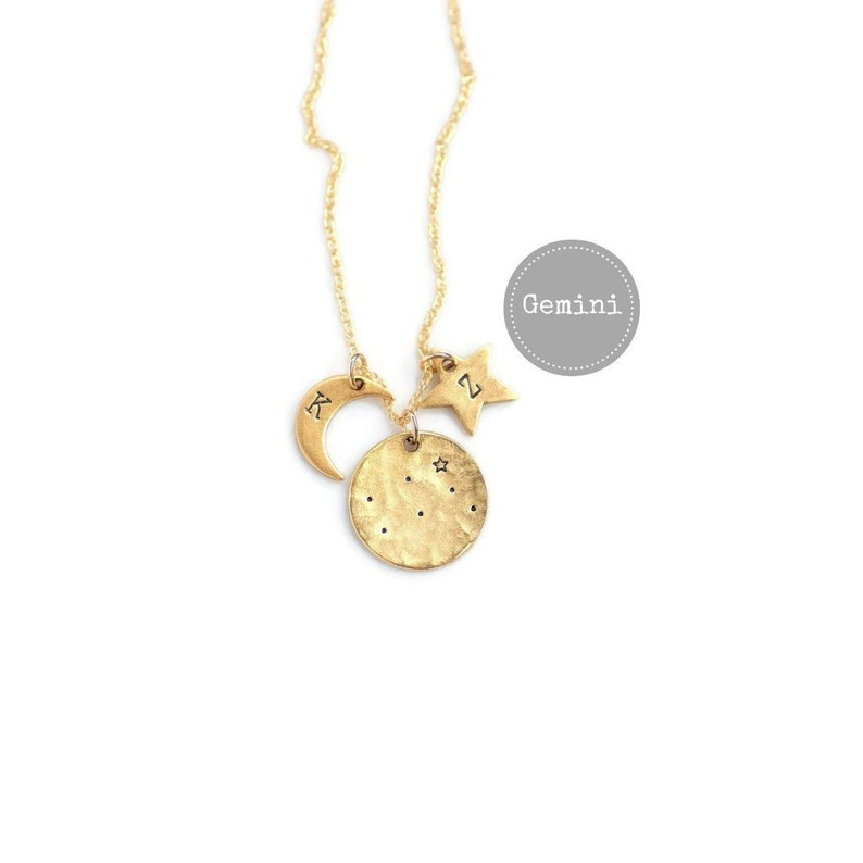 Gemini Necklace Gold Birthday Gifts For Her Zodiac Sign
