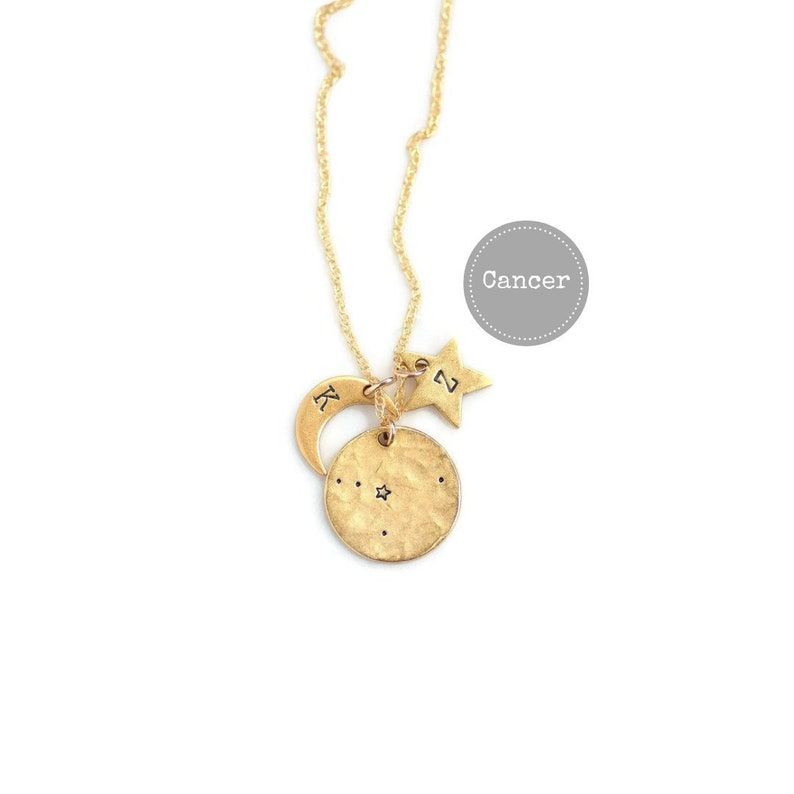 Cancer Necklace Gold Birthday Gifts For Her Zodiac Sign
