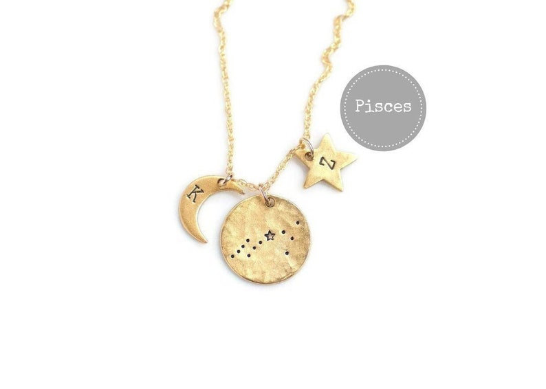 Pisces Necklace Gold Birthday Gifts For Her Zodiac Sign NecklaceZodiac JewelryConstellation NecklaceCelestial JewelryGift Under 50