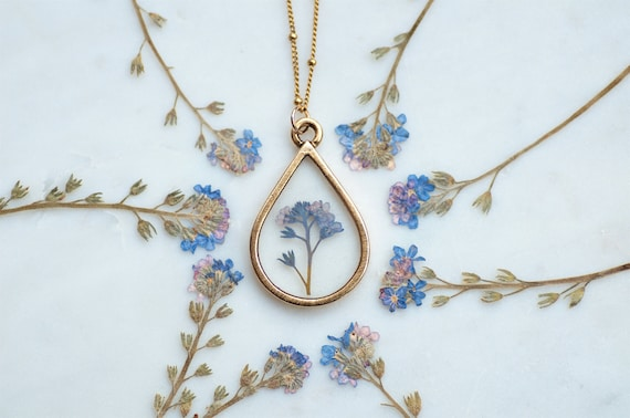 Gift box option Heart shaped Pressed dried Forget Me Not and Queen Annes Lace Flower Pendant and Silver plated Necklace