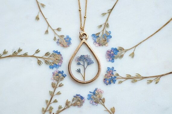 Forget Me Not Necklace, Pressed Flower Jewelry, Flower Jewelry,Real Flower Necklace,Nature Jewelry,Resin Flower Necklace,Blue Necklace, by Etsy