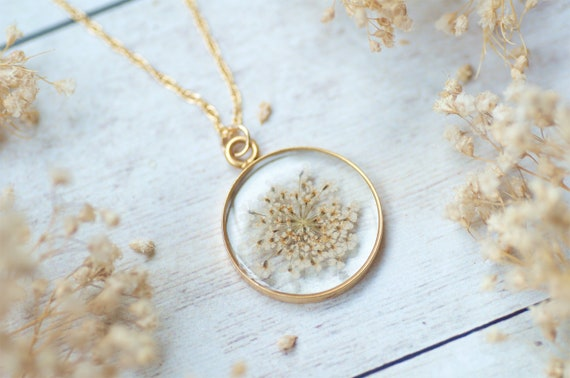 Lace Flower Necklace, Real Flower Jewelry,Pressed Flower Necklace, Nature Jewelry, Resin Flower Necklace,Blue Necklace,Floral Necklace by Etsy