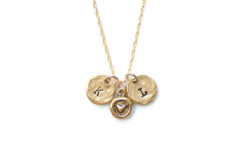 Two Initials Necklace,Love Jewelry,Initial Necklace,Heart Necklace,Couples Necklace,Hand Stamped Jewelryc Initials Necklace With Heart
