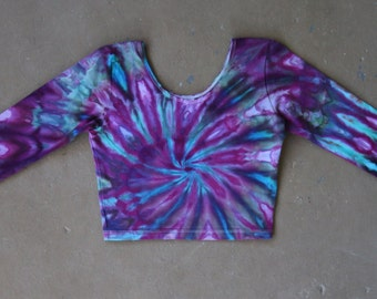 Tie Dye Crop Top | Large Crop Top, Womens tie dye, Festival Wear, Hippie Shirt, Festival Shirt, Boho Chic, Boho Crop Top, Long Sleeved Crop