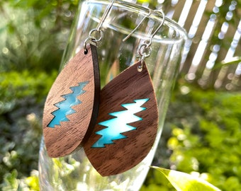 Walnut Earrings with Inlay