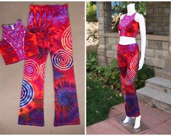 Tie Dye Yoga Pants and Crop Top| Medium Yoga Pants with Matching Crop Top, Hand Dyed Yoga Pants, Unique Yoga Pants, Festival Outfit