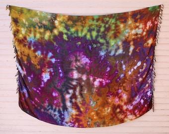 Hand Dyed Sarong | Tie Dye Sarong, Unique Sarong, Wall Hanging, Tie Dye Tapestry, Beach Cover Up, Bohemian Sarong, Cover Ups, Sarong Skirt