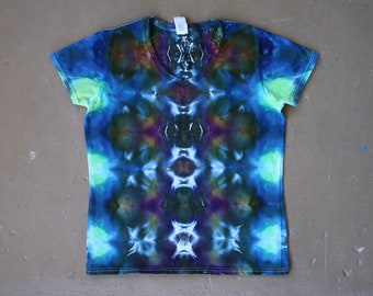 Women's Tie Dye Shirt | Large Tie Dye, Large T Shirt, Hippie Gift Idea, Wanderlust, Boho Chic, Festival Wear, Psychedelic Clothes, V Neck
