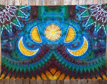Large Tie Dye Tapestry   Moon Phase Tapestry, Mandala Tapestry, Boho Tapestry, Hand Dyed, Hippie Tapestry, Christmas Gift Idea, Handmade