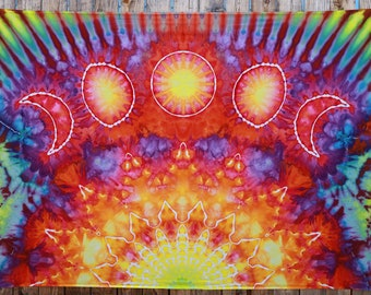 Large Tie Dye Moon Phase Tapestry