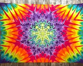 Large Rainbow Mandala Tie Dye Tapestry