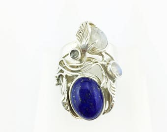 Rainbow Moonstone and Lapis Lazuli Ring Sterling Silver 925 Opalescent & Dark Blue 13.06 Grams Size 7