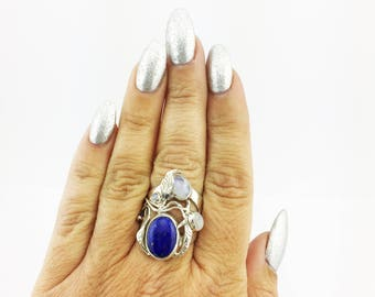 Rainbow Moonstone and Lapis Lazuli Ring 925 Sterling Silver Opalescent & Dark Blue 12.86 Grams Size 7