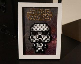 Framed Star Wars Storm Trooper 8 Bit Hama Beads