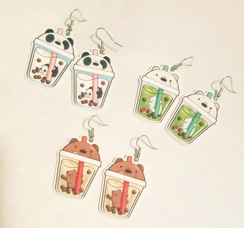 Boba Tea Animal Drink Earrings Hypoallergenic