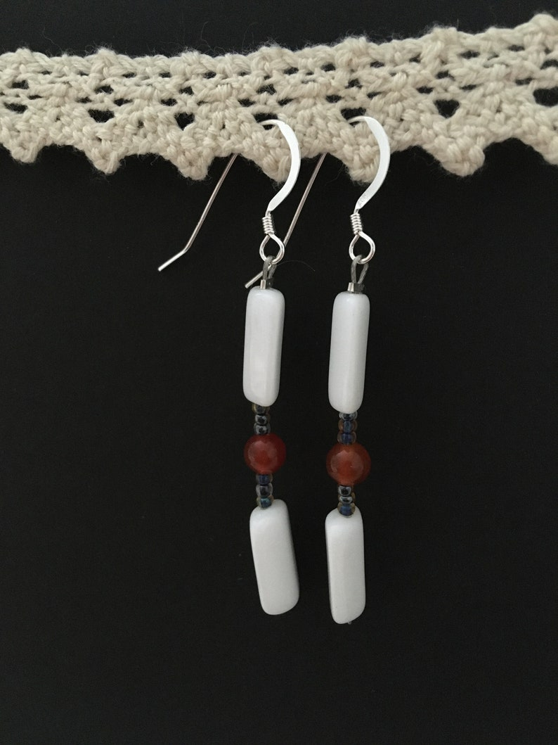 Vintage White Glass Glass and Carnelian Beaded Earrings on Sterling Silver