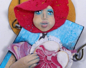 Mixed Media Art Doll - Spirit Doll - Abstract Collage  Doll - Assemblage Doll - HEART WHISPERS