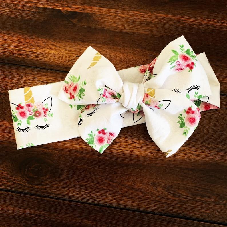 Unicorn headband turban headband fabric bows bow headwrap baby turban unicorn bow baby bow headwrap