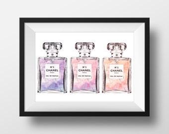 CHANEL No.5 'Triple' Perfume Print - Original watercolor print