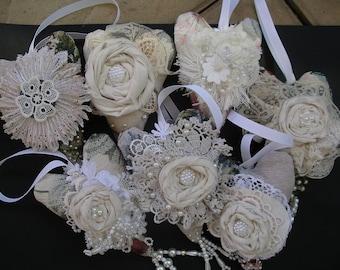 7 white lace embellished hearts/Shabby Chic small lace embellished hearts/