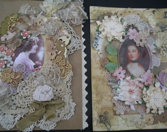 Two Vintage style cards/Mixed Media and lace Keepsake cards