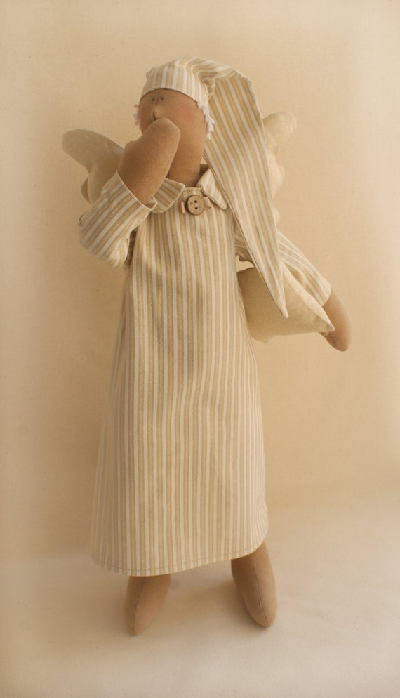 DIY Kit Sleeping Angel  Boy Tilda style artistic doll sewing pattern and dollmaking materials beige cotton fabric rag doll softie stuffed