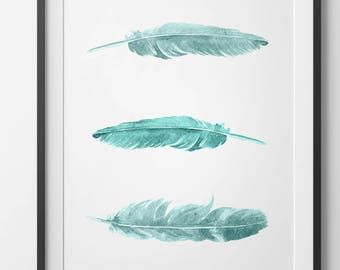 Teal Feather Wall Art, Teal Feathers, Feather Watercolor Download, Teal Wall Prints, Feathers Print, Blue Art, Bohemian Art, Feather Print