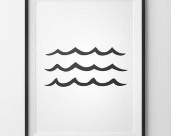 Beach Art Print, Sea Print, Beach Life, Wave Poster, Ocean Waves Art, Wave Wall Art, Printable Wall Art, Ocean Print, Black and White Art