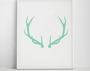 Deer Antler Navy Blue Wall Art Deer Print Minimalist Flat Etsy