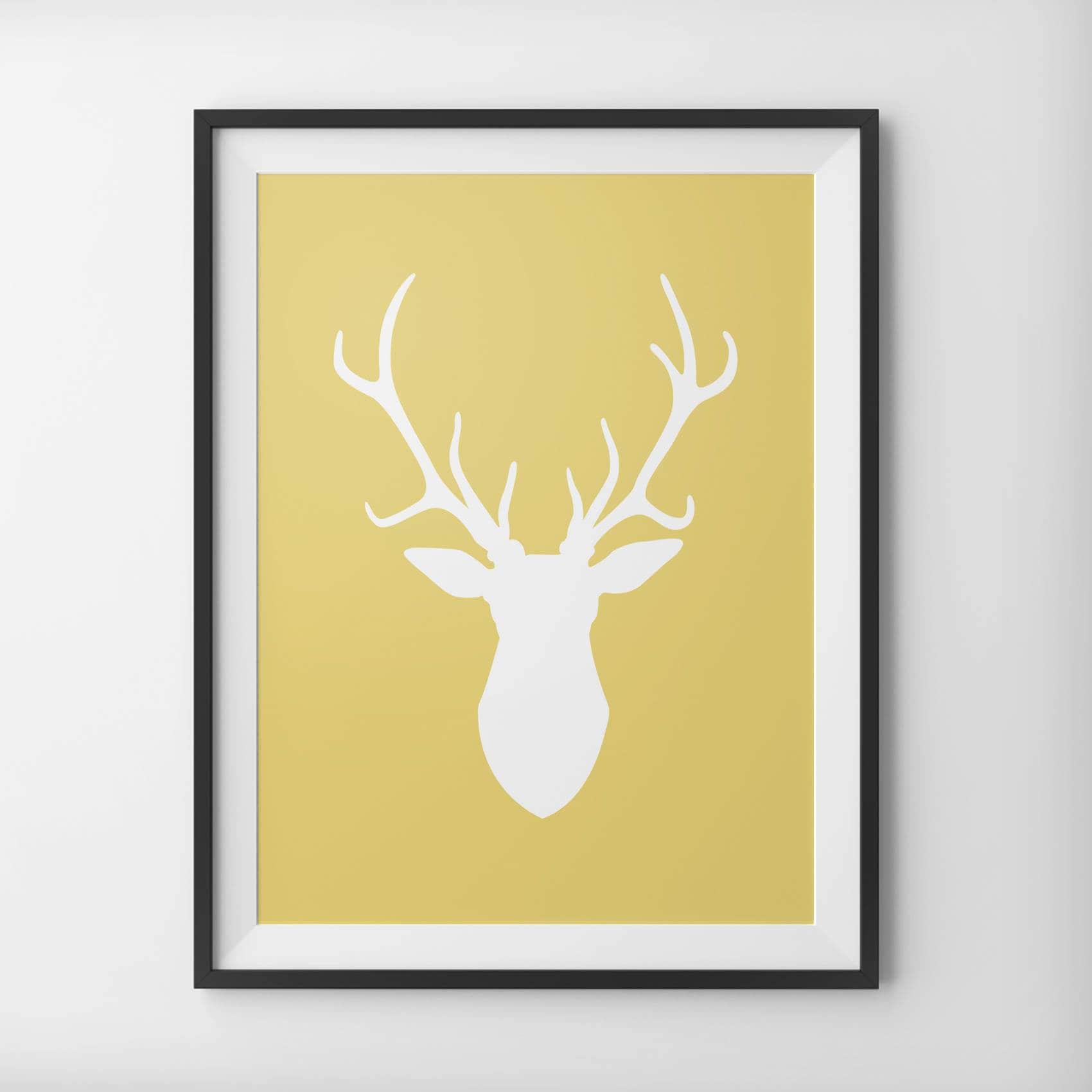 Yellow Deer Head Print Yellow Mustard Deer Head Print | Etsy