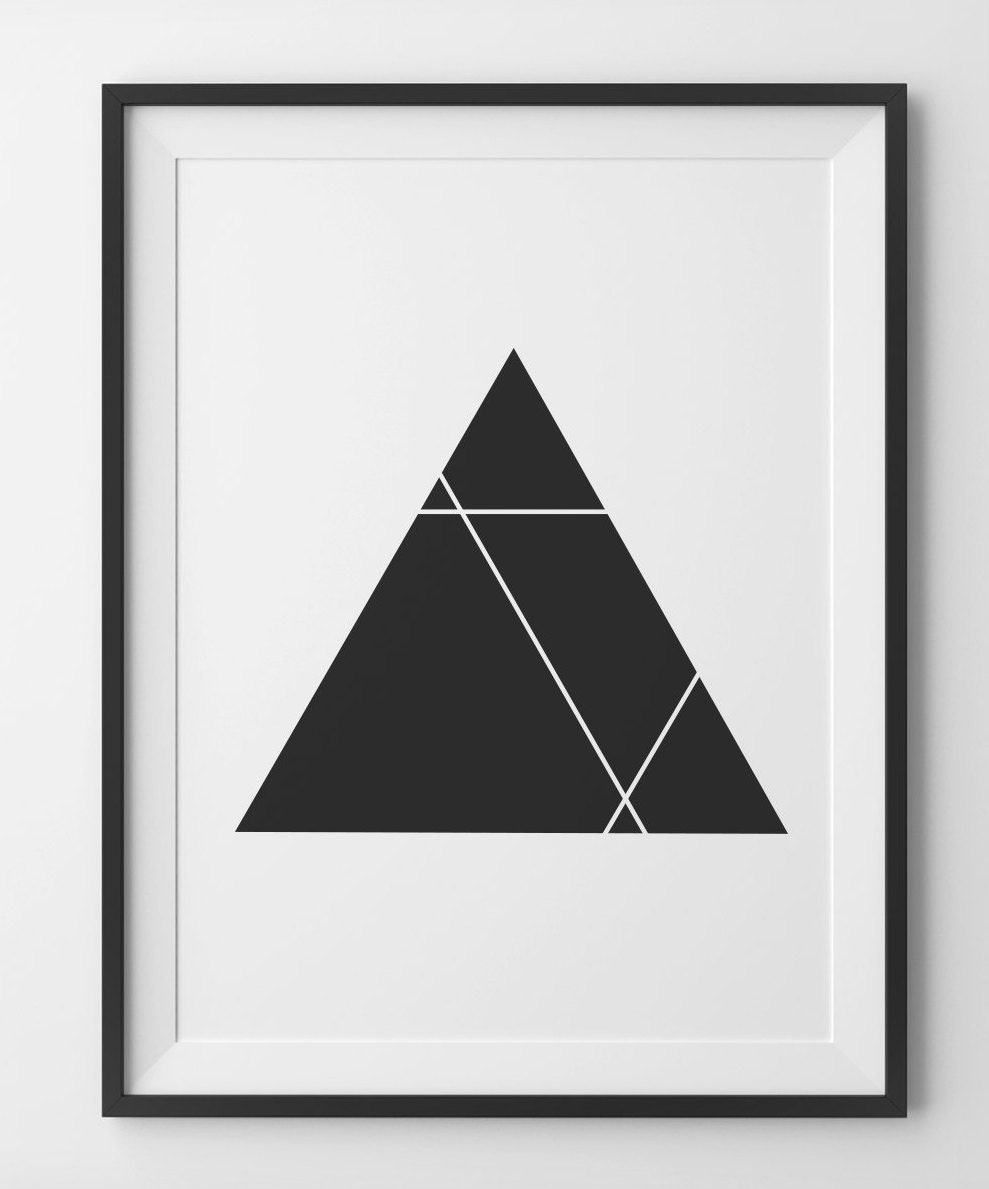 Geometric Triangle Print Black and White Triangle Décor | Etsy