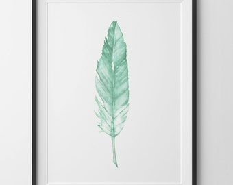 Mint Feather Print, Green Watercolor Home Decor Wall Art, Mint Green Prints, Water Color Feather Wall Art, Green Feather Digital Print