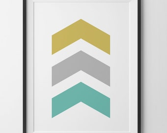 Yellow Gray & Teal Chevrons Wall Art, 3 Chevron Geometric Mustard Yellow Gold Gray Chevron Home Decor, Arrow Chevron Print, Digital Print