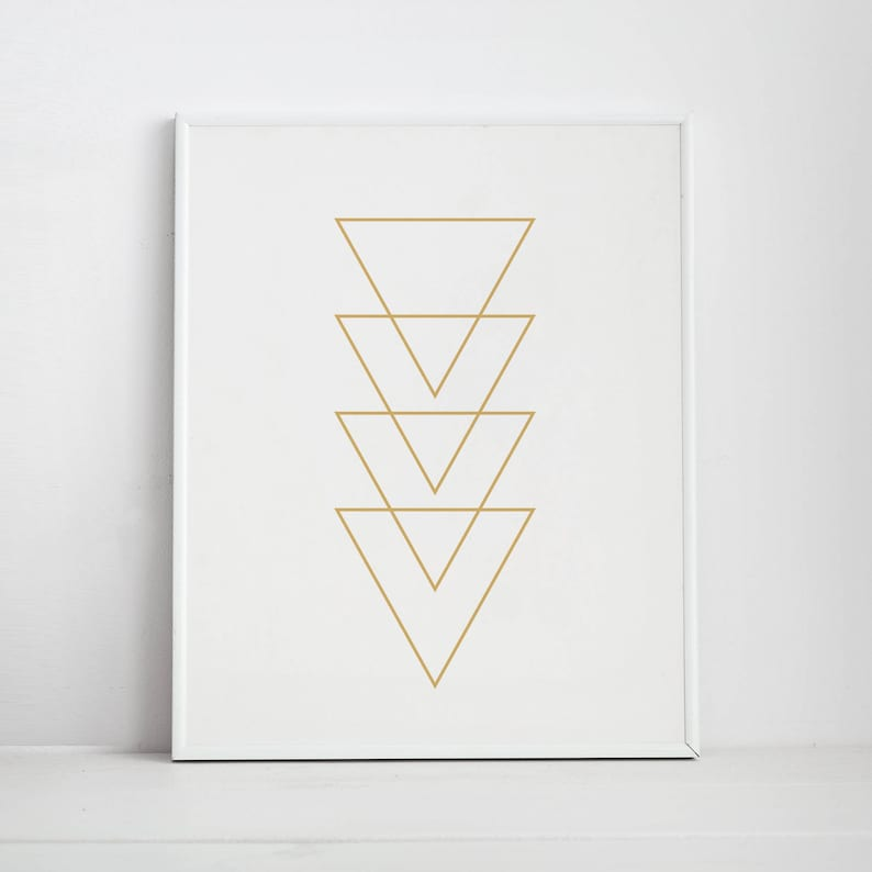 image relating to Triangle Printable named Gold Triangle Printable Artwork, Gold Print Wall Artwork, Gold Printables, Geometric Triangles, Geometric Wall Artwork, Triangle Artwork Prints, Gold Print