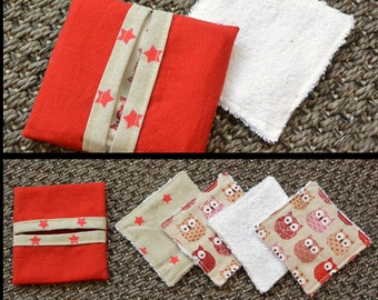 4 washable bambou baby wipes + bag - red owls and stars - organic, ecological