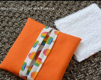 4 washable bambou baby wipes + bag - popsicle orange - organic, ecological