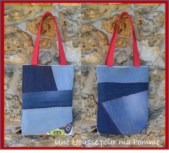 Tote bag purse Jeans denimquilting linen coton USA licence  24097aa11cb9c
